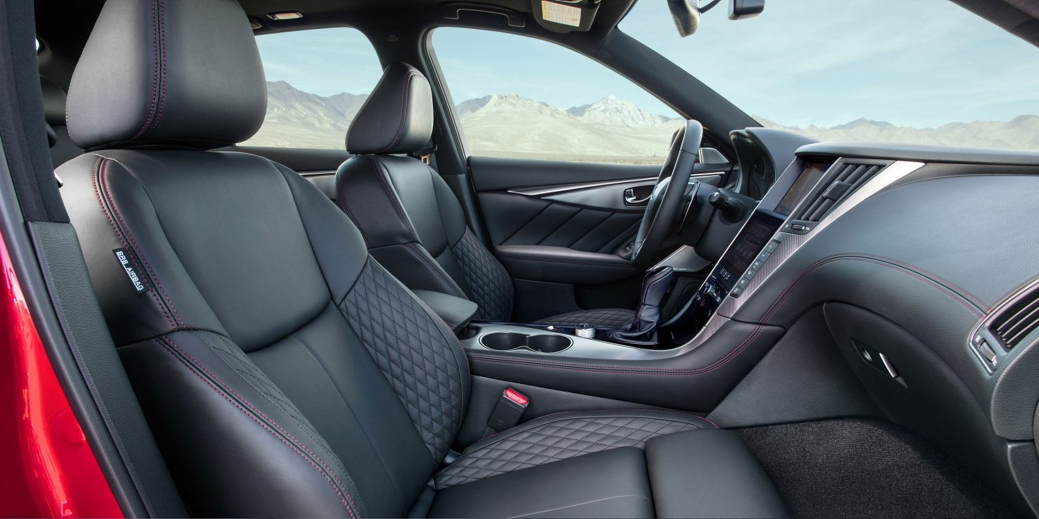 2018 INFINITI Q50 Red Sport Interior With Quilted Leather-appointed Seats, Dark Chrome Accents and Red Contrast Stitching