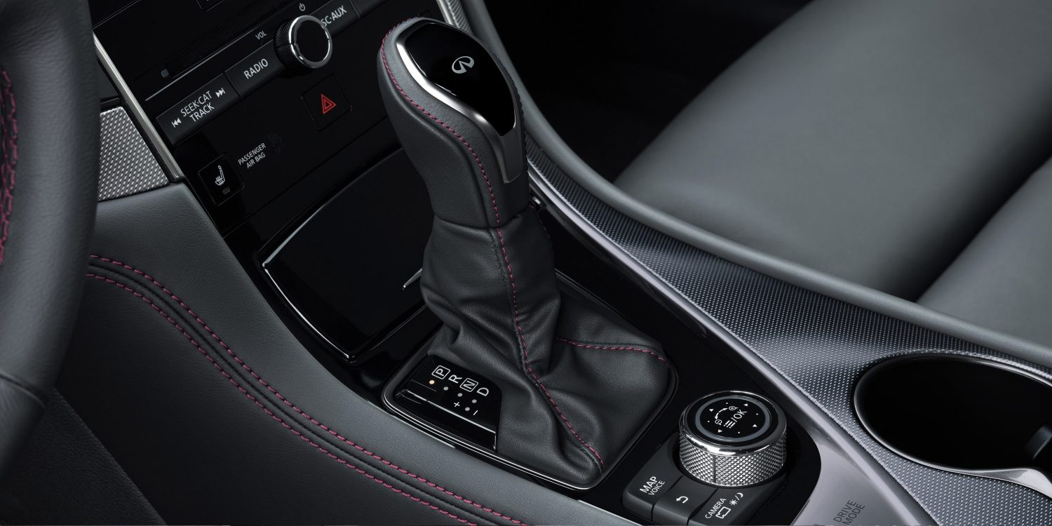 2018 INFINITI Q50 Red Sport Sedan Design Gallery | Premium Leather Shift Knob