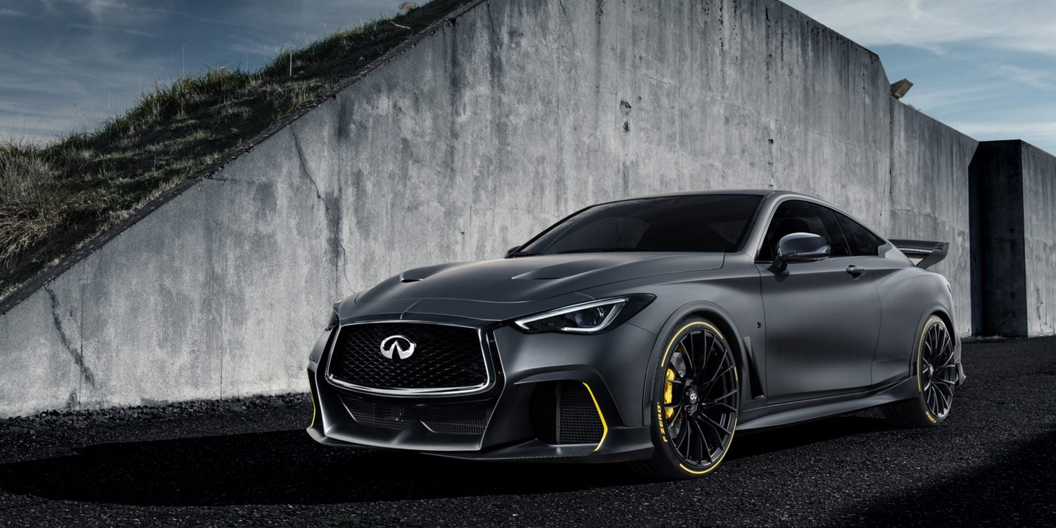 Front of the INFINITI Project Black S high performance vehicle driving away