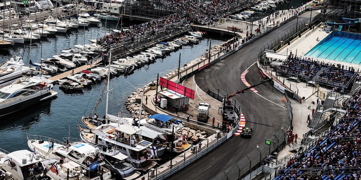 Aerial view of INFINITI and Renault F1 Team car on track at Monaco GP 2019