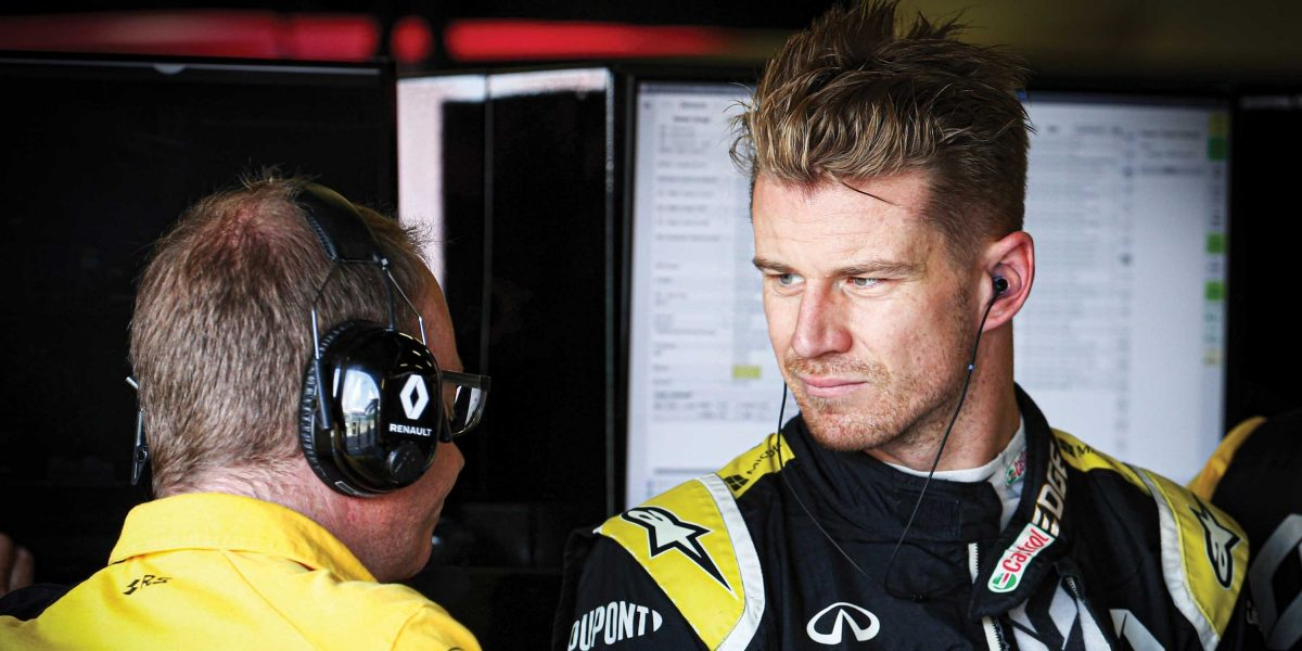 INFINITI and Renault F1 Team driver Nico Hülkenberg talking to an engineer