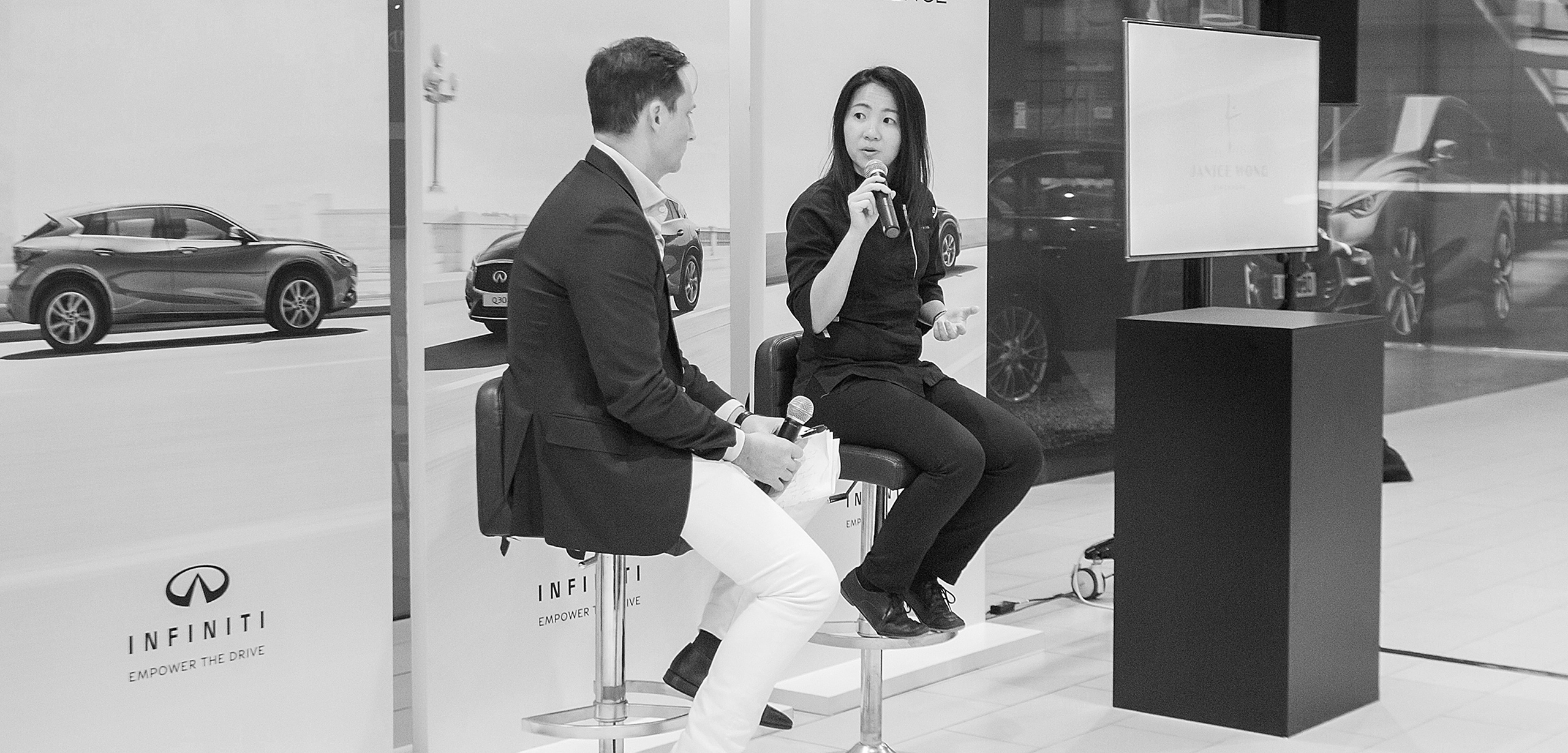Local Entrepreneur and Asia's best Pastry Chef, Janice Wong being interviewed