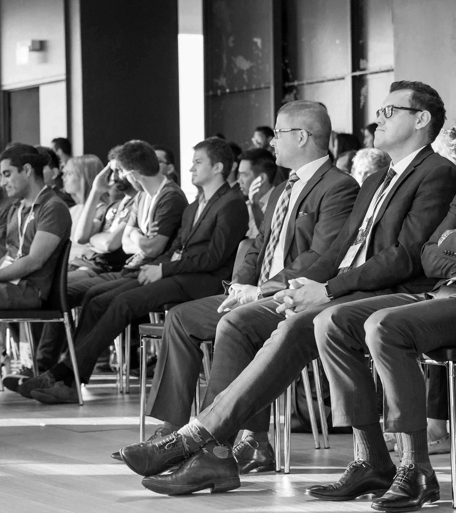 Investors, partners, and venture capitalists observing at the INFINITI LAB