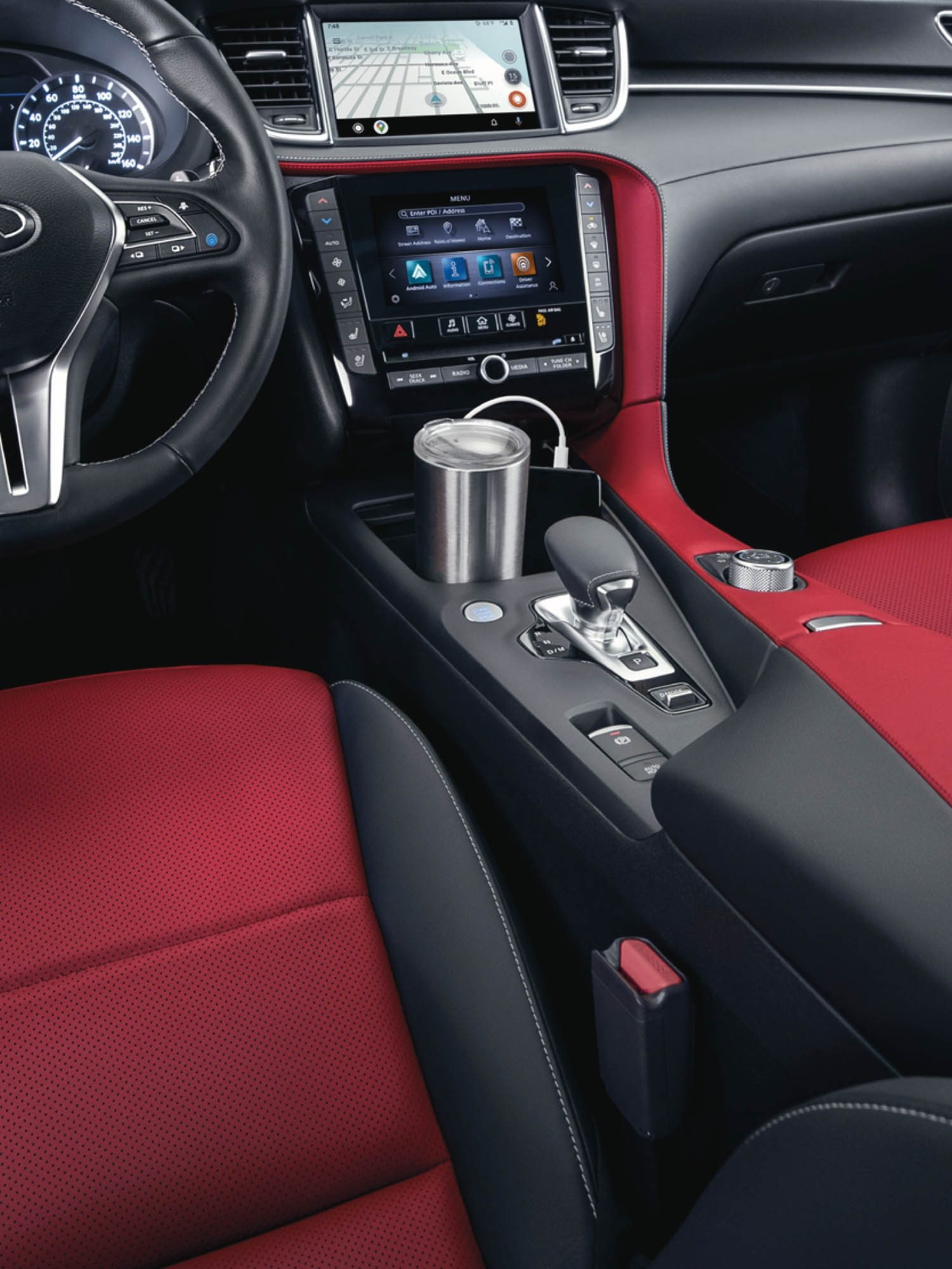 Luxurious black and red interior in the 2022 INFINITI QX55 crossover
