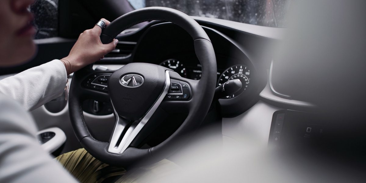 2020 INFINITI QX50 Luxury Crossover Steering Wheel Close Up