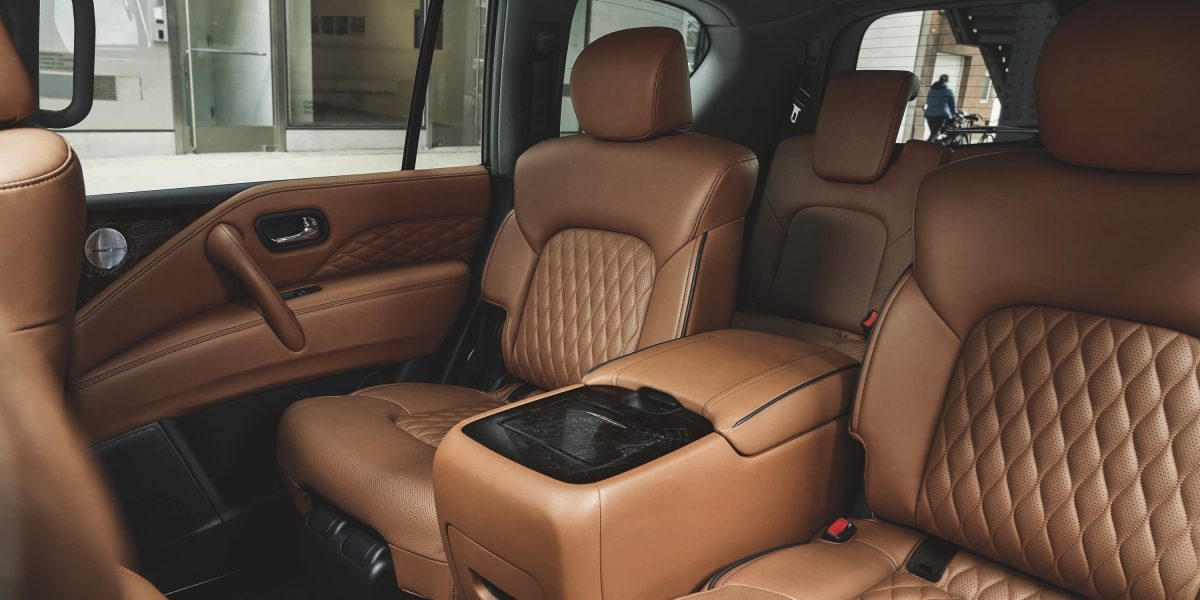 Luxurious Saddle Brown interior leather in the 2021 INFINITI QX80 SUV