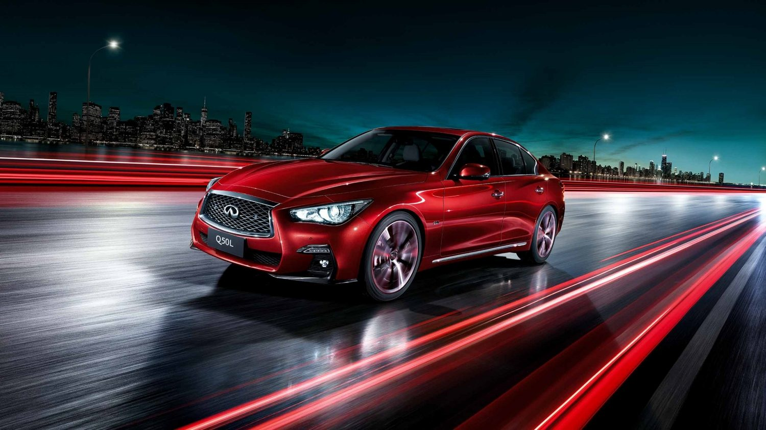 2018 INFINITI Q50 Red Sport Sedan in Dynamic Sunstone Red