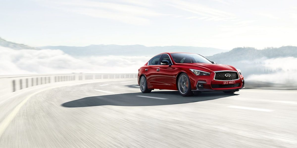Front Driver's View of the 2018 INFINITI Q50 Red Sport Sedan in Dynamic Sunstone Red