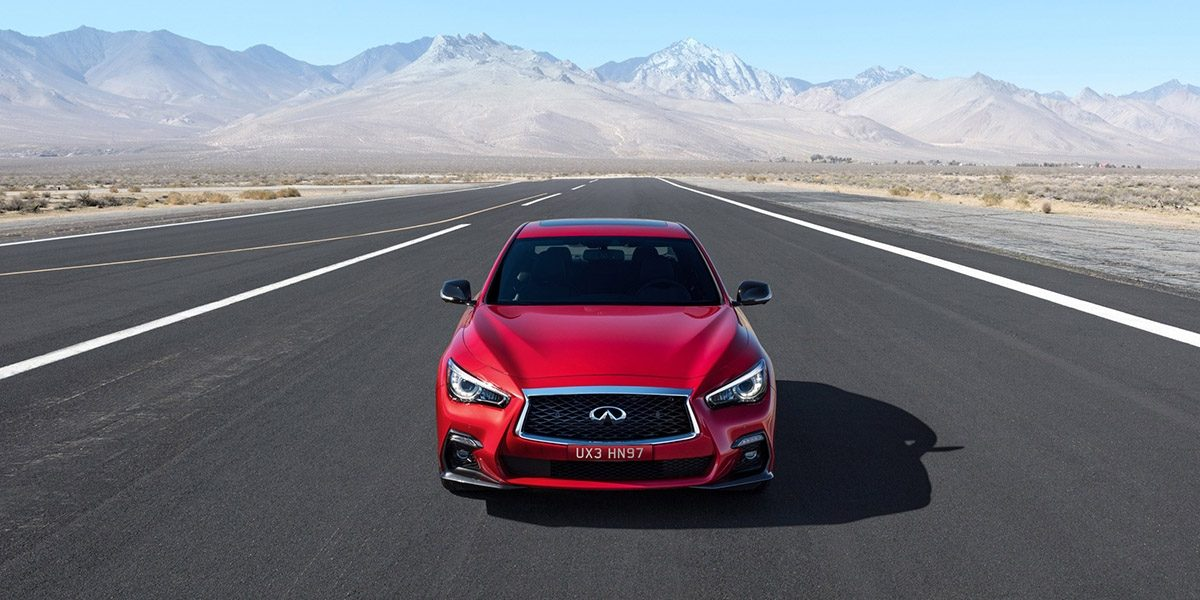 2018 INFINITI Q50 Red Sport Sedan Design Gallery | Right Front Fascia and Signature Profile