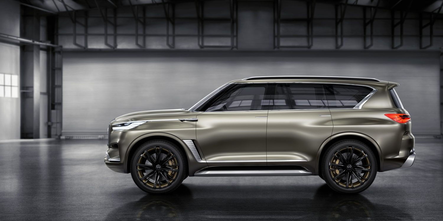 Driver's Side View of the INFINITI QX80 Monograph Luxury SUV Concept, Highlighting the 24-Inch Wheels