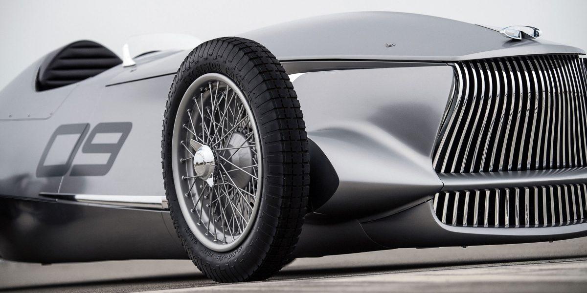 Front Side Profile Deign Including INFINITI's Signature Double-Arch Grille  INFINITI Prototype 9 e-roadster