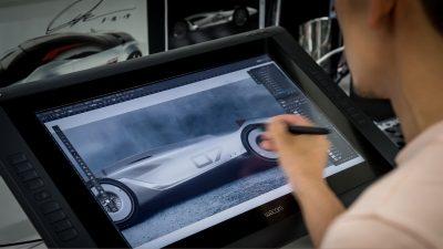 An INFINITI Designer Sketching Initial Prototype 9 Iterations  INFINITI Prototype 9 e-roadster