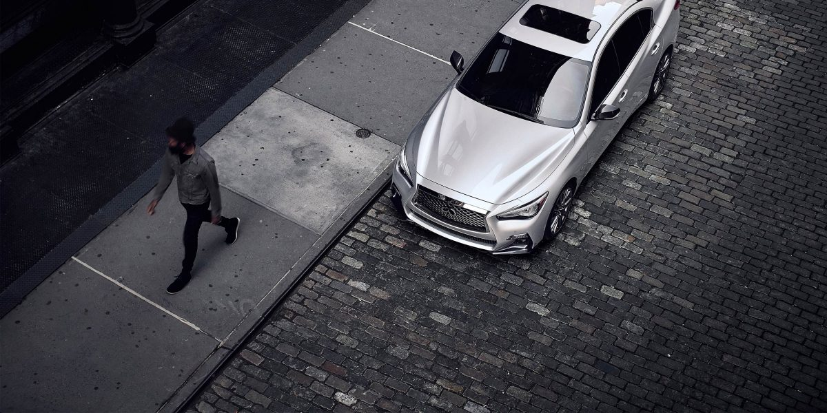 2020 INFINITI Q50 Sport Sedan Design Parked On The Street View From Above