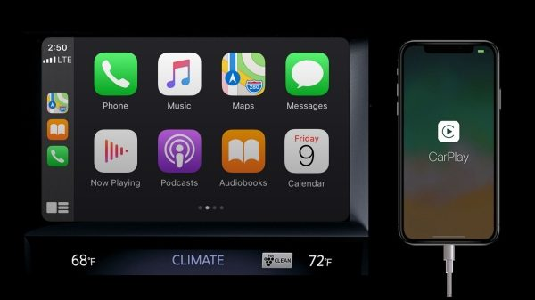 Apple Carplay screen to demonstrate Apple Carplay feature availbility in the 2021 Q50 sedan