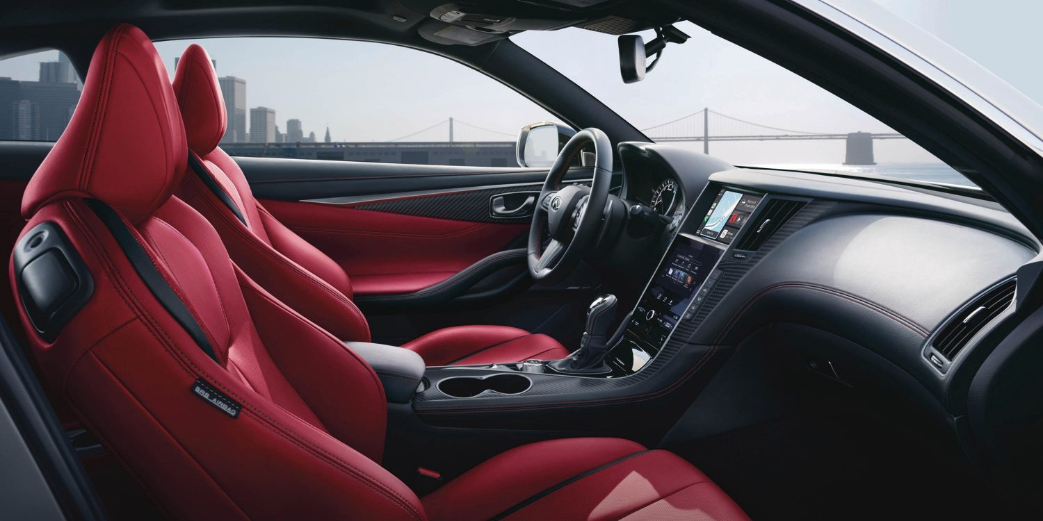 2021 INFINITI Q60 Red and Black Interior