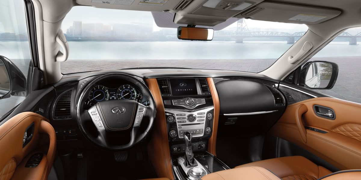 2018 INFINITI QX80 SUV Interior | Front Cockpit Wrapped in Saddle Brown and Graphite Leather