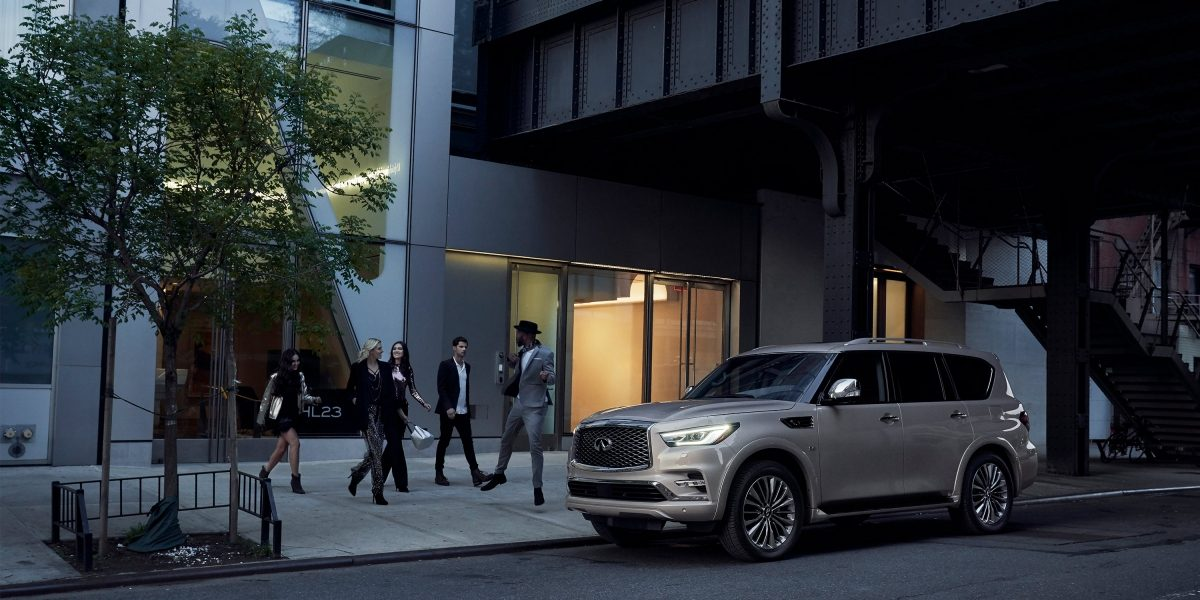 2019 INFINITI QX80 SUV Parked On Urban Road