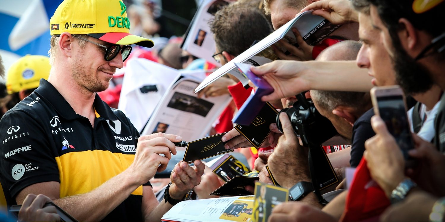 Infiniti F1 driver Nico Hulkenberg  signing autographs