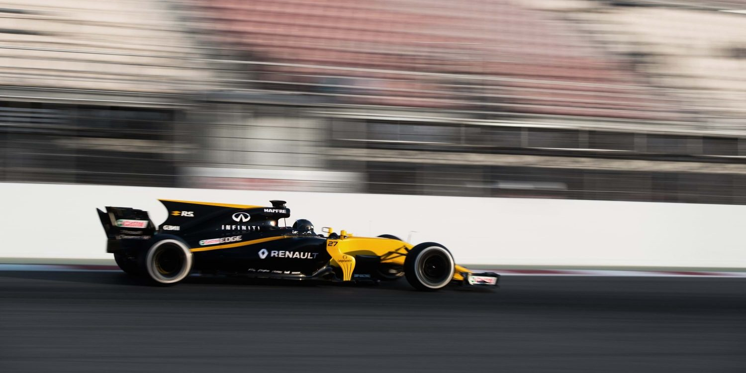 Side View of the Renault R.S.17 Renault Sport Formula One Car on Track