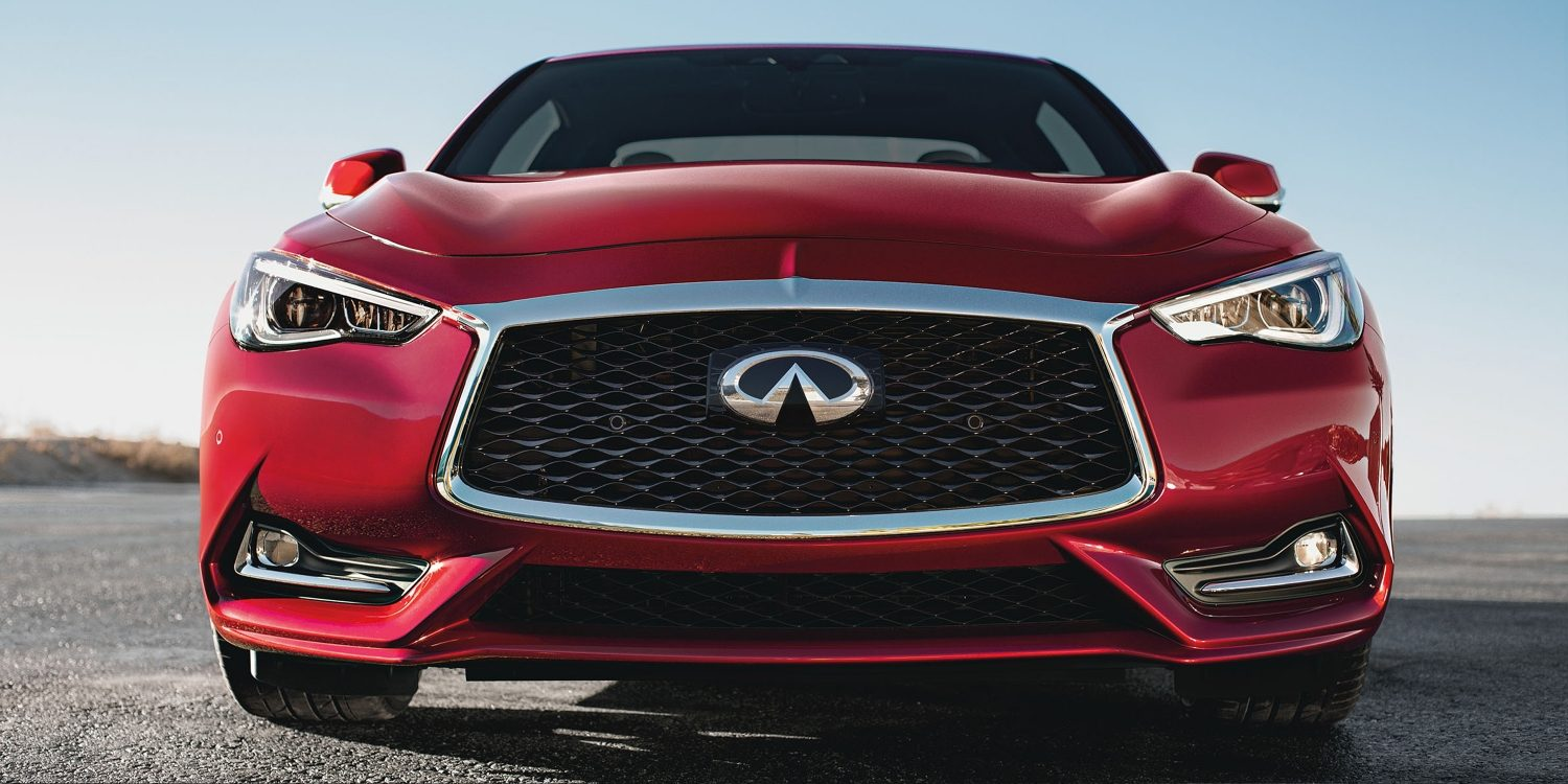 2018 Q60 red coupe head-on shot